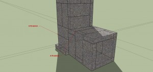 """SketchUp view of the """"core"""" of my Rocket Mass Heater"""