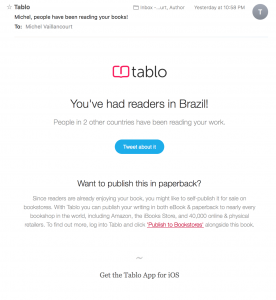 Tablo Congrats EMail