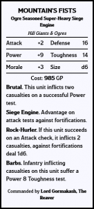 Unit Card - Siege Giants: The Mountain's Fists