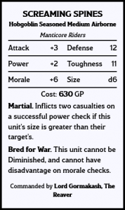 Unit Card - Manticore Close Air Support : the Screaming Spines